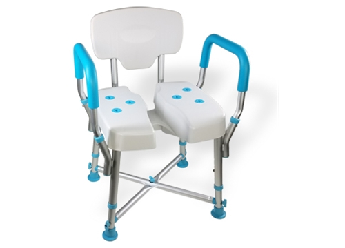 MedGear DURA Hygienic Cutout Shower Chair with Back and Arm Rests